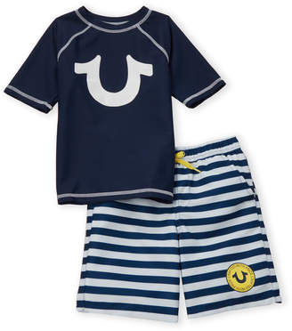 b0b6182d81 True Religion Toddler Boys) Two-Piece Navy Rash Guard & Stripe Swim Shorts