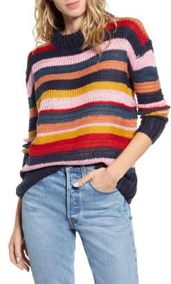 GOOD LUCK GEM Stripe Mock Neck Sweater