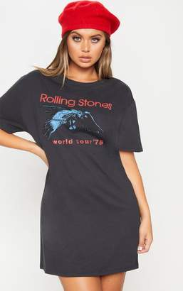 PrettyLittleThing Sand The Rolling Stones '75 Oversized Boyfriend T Shirt Dress