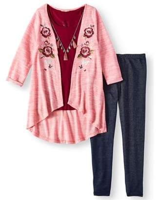 ONE STEP UP Embroidered Long Sweater Knit Cardigan, Tee & Knit Denim Legging, 2-Piece Outfit Set (Little Girls & Big Girls)