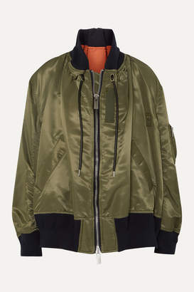 Sacai Ma-1 Melton Oversized Shell Bomber Jacket - Green