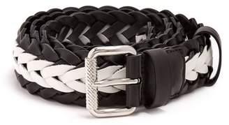 Prada - Two Tone Braided Leather Belt - Mens - Black White