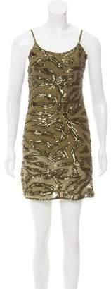 Alice + Olivia Sequin Embellished Silk Mini Dress