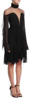 Jonathan Simkhai Mesh-Accented Silk-Blend Dress