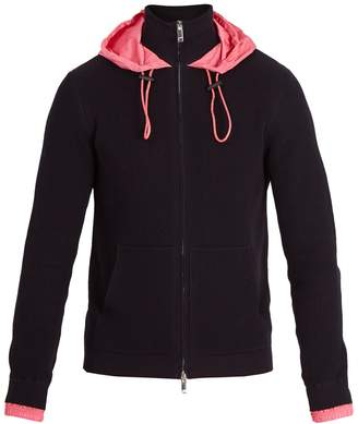 Valentino Contrast-hood ribbed-knit cotton track top