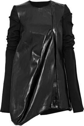 Rick Owens Ribbed Knit-Paneled Coated-Cotton Jacket