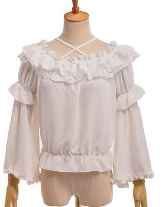 f4a9d62875d78 GRACEART Women s Victorian Ruffle Chiffon Blouse