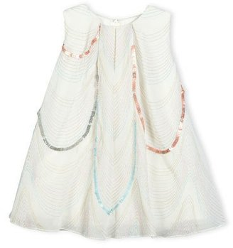 Billieblush Sleeveless Scalloped Organza Swing Dress, White, Size 2-3 $146 thestylecure.com