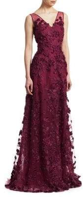 Teri Jon by Rickie Freeman Floral Applique Gown