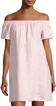 Neiman Marcus Off-the-Shoulder Linen Dress, Pink