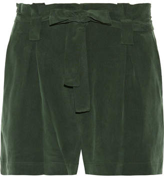 L'Agence Alex Washed Silk-crepe Shorts - Army green