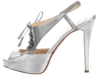 Christian Louboutin Metallic Lace-Up Sandals