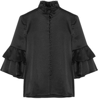 Co - Ruffle-trimmed Satin Blouse - Black $550 thestylecure.com