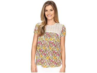 KUT from the Kloth Serenity Lace Top Women's Short Sleeve Knit
