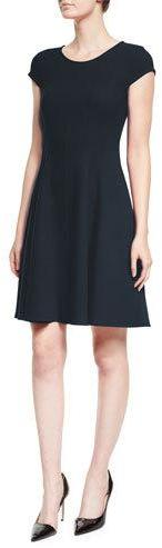 Armani Collezioni Cap-Sleeve Fit-&-Flare Dress, Navy
