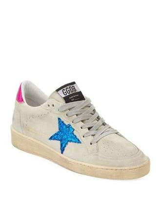 Golden Goose Ball Star Glitter & Suede Sneakers