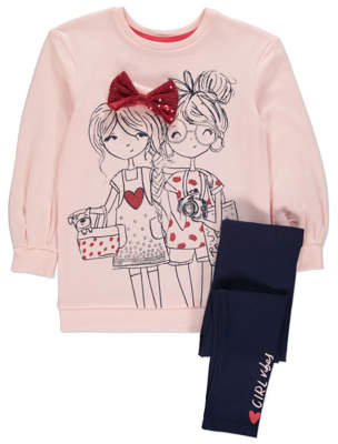 Bell George Pink Embellished Sweatshirt and Leggings Outfit