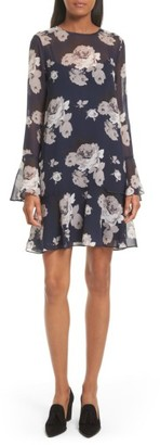 Women's Theory Marah Floral Chiffon Dress $395 thestylecure.com