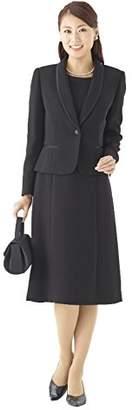 (モノワール) MONOIR 喪服 レディース 礼服 大きいサイズ ショールカラー 前開き 授乳 ブラックフォーマル アンサンブル ワンピース オールシーズン 02P03161 9号 ブラック
