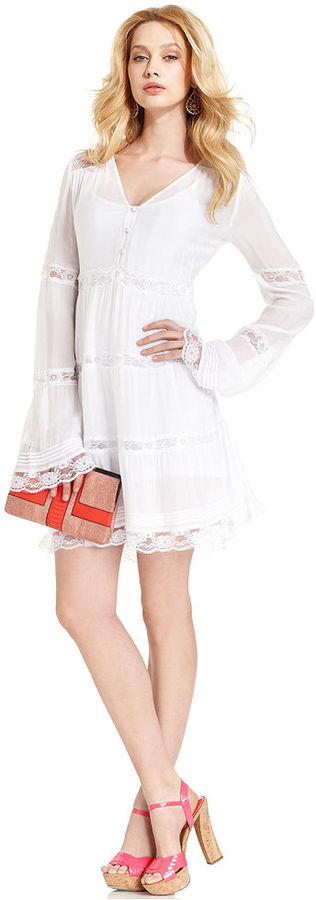 GUESS Dress, Long-Sleeve V-Neck Lace A-Line