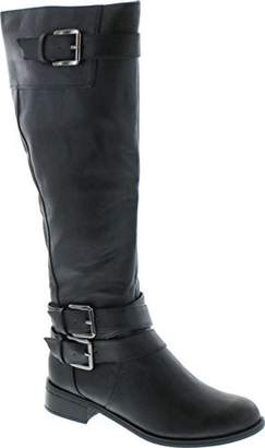 Soda Sunglasses Women's Doric Faux Leather Buckle Accent Knee High Riding Boots