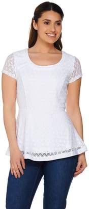 Isaac Mizrahi Live! Short Sleeve Stretch Lace Peplum Top