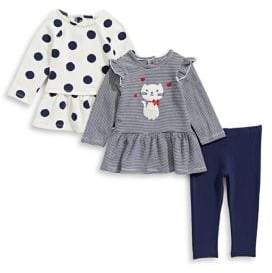 Little Me Baby Girl's Three-Piece Cotton Polka Dot Top, Striped Top Leggings Set