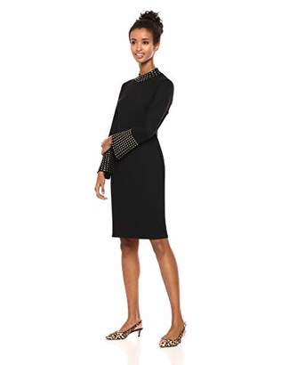 Calvin Klein Women's Mock Neck Bell Sleeve Sweater Dress with Embellishment