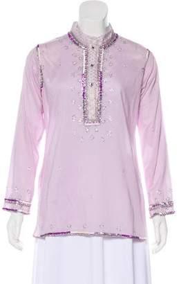 Juliet Dunn Embellished Button-Up Top