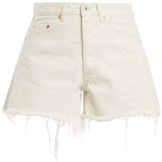 Off-White High-rise frayed-hem denim shorts