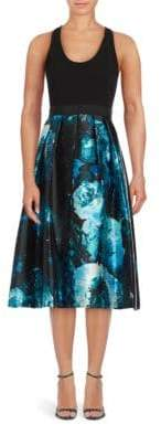 Carmen Marc Valvo Fit-&-Flare Floral Print Dress