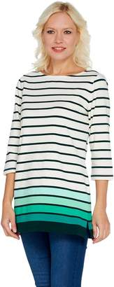 Denim & Co. Petite Perfect Jersey Ombre Stripe 3/4 Sleeve Tunic
