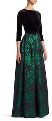 Theia Floral Jacquard Contrast Velvet A-Line Gown
