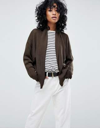 Asos DESIGN knitted cardigan in rib with shawl collar