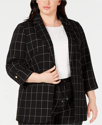 Calvin Klein Plus Size Windowpane-Print Roll-Tab Jacket