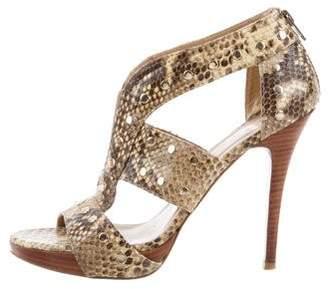 Stuart Weitzman Snakeskin Cage Sandals