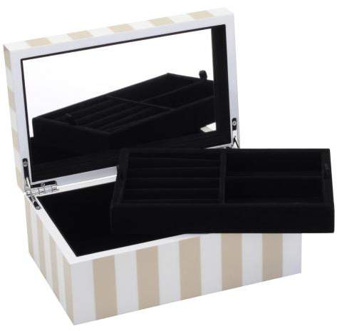 Gift Company Schmuckkasten Stripes XS, hochglanz beige weiss