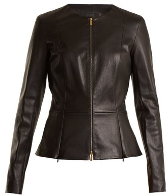 The Row Anaste Collarless Leather Jacket - Womens - Black