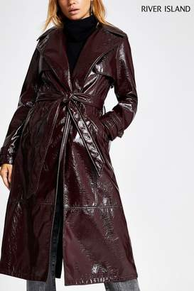 River Island Womens Berry Vinyl Trench Jacket - Red