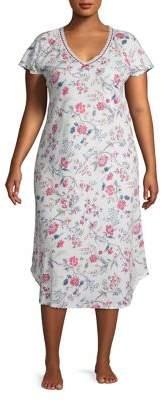 Karen Neuburger Plus Floral Sleep Shirt