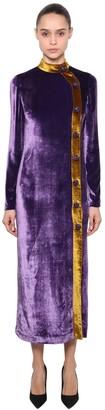 Silvia Astore Velvet Long Dress W/ Jewel Buttons