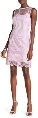 Nanette Lepore NANETTE Lorenzo Illusion Neck Embroidered Dress