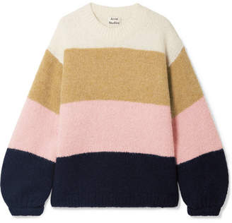 Acne Studios Kazia Oversized Striped Knitted Sweater - Cream