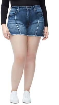 Good American Bombshell Raw Seam Denim Shorts