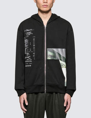 3.1 Phillip Lim Zip Front Hoodie With Grocery Print