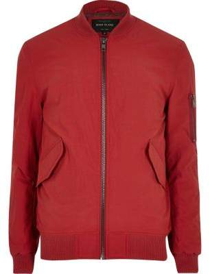 River Island Red casual crinkle bomber jacket