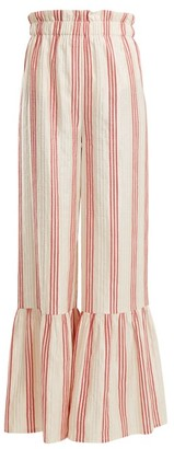 Vilshenko Cecile Striped Satin Jacquard Wide Leg Trousers - Womens - Red Stripe