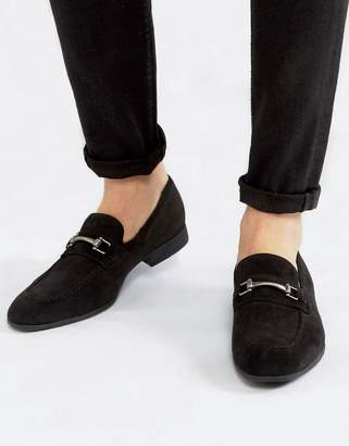 Asos Design DESIGN loafers in black faux suede with snaffle detail