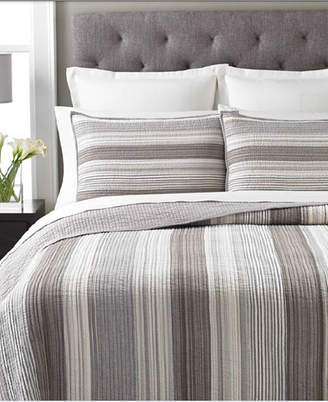 Martha Stewart Collection 100% Cotton Garrison Stripe Neutral King Quilt
