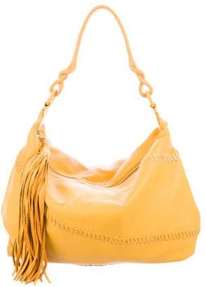Carlos Falchi Whip Stitch-Accented Leather Hobo w/ Tags
